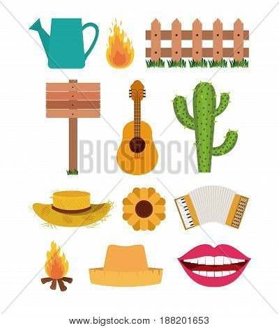 white background with set of elements of festa junina vector illustration