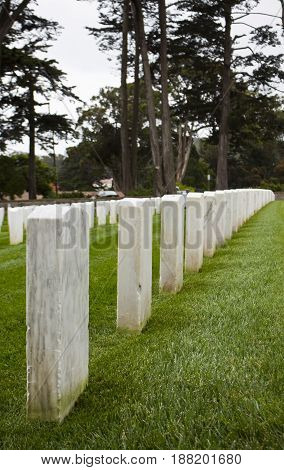 Headstones at the San Francisco National Cemetery