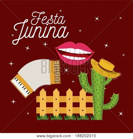 colorful poster festa junina with starry background and wooden railing with cactus with hat vector illustration