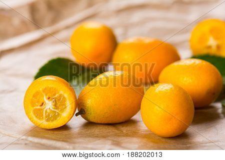 Ripe tropical fruit kumquat, citrus family, contains vitamins