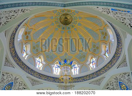 KAZAN RUSSIA - JUNE 25 2016: The interior of dome of Kul Sharif Mosque one of the largest mosques in Russia.
