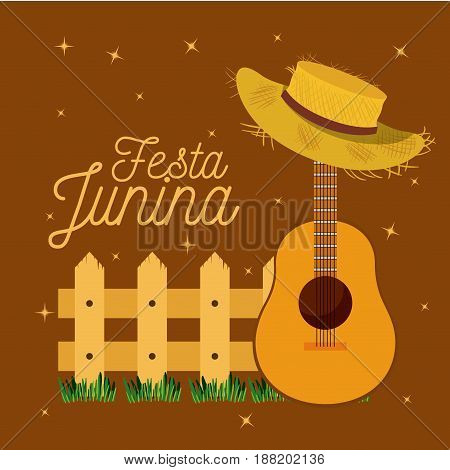 colorful poster festa junina with starry background and wooden railing with guitar and hat vector illustration