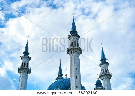 A Background With Clouds And Kul Sharif Mosque, One Of The Largest Mosques In Russia.