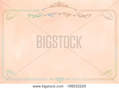 A3 international paper size Gradient netural textured background with rainbow border
