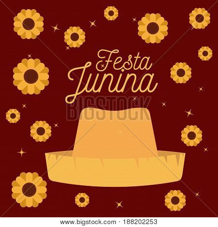 colorful poster festa junina with starry background with hat and pattern of sunflowers vector illustration