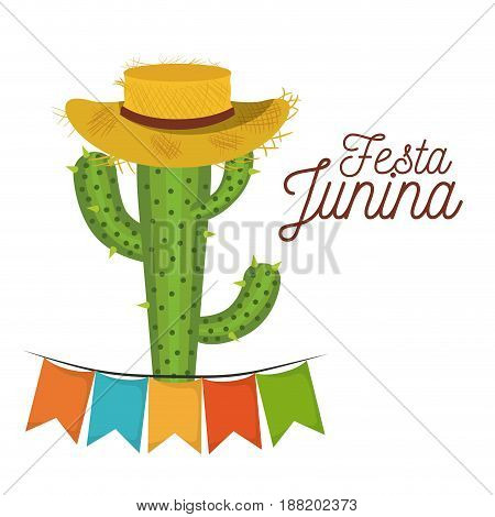 colorful poster festa junina with white background of cactus with hat and festoons vector illustration