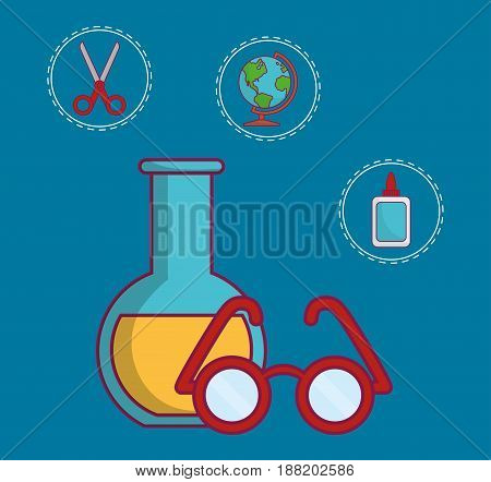 chemical flask and glasses icon over blue background. colorful design. vector illustration
