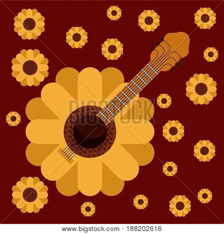 dark red background with guitar in form of sunflower and pattern of sunflowers vector illustration