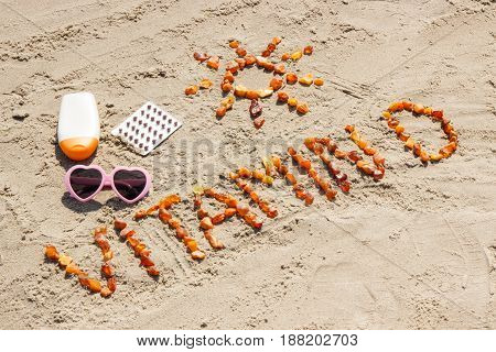 Medical Pills, Inscription Vitamin D And Accessories For Sunbathing At Beach, Concept Of Summer Time
