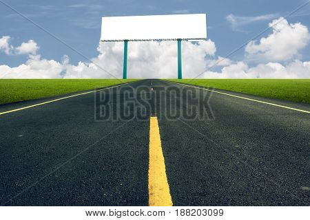 Landscape background. Road runs through nature. Billboard for display text. Beautiful nature