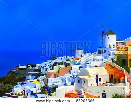 The blurred view to the sea from Oia the most beautiful village of Santorini island in Greece