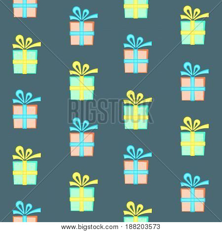 Colorful present boxes seamless pattern, nice gift box with bow pattern, green and peach boxes with yellow and blue bows, wrapping paper