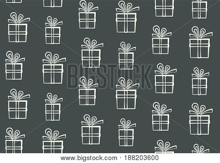 Cute outline white gift boxes pattern, nice present box silhouette pattern, wrapping paper