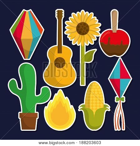 festa junina related icon over blue background. colorful design. vector illustration