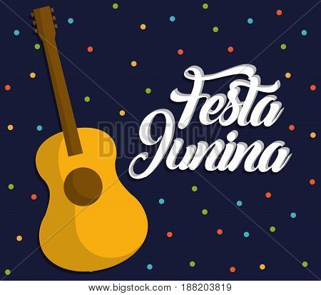 festa junina card with guitar icon over blue background. colorful design. vector illustration