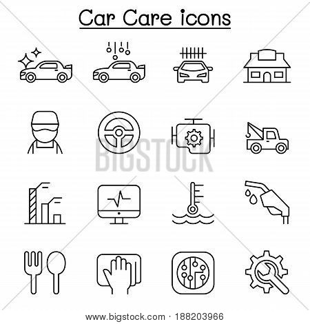Car wash car care icon set in thin line style