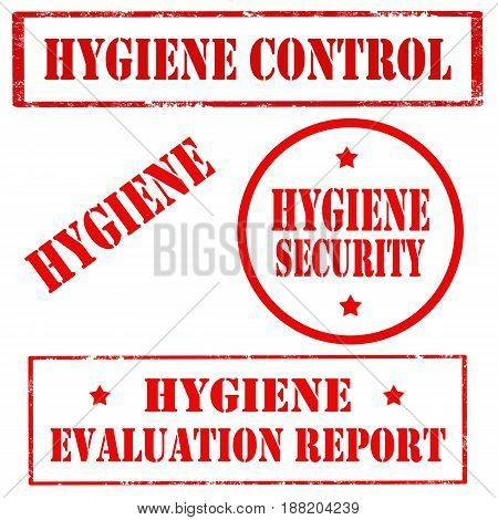 Set of stamps with text Hygiene Control,Hygiene Security, vector illustration