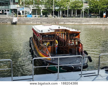 Boat At The Jetty In Singapore