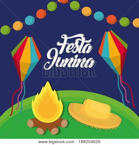 festa junina card with bonfire, hat and kites icon  over blue background. colorful design. vector illustration