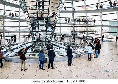 The Glass Dome Of The Reichstag And The People In It In Berlin I