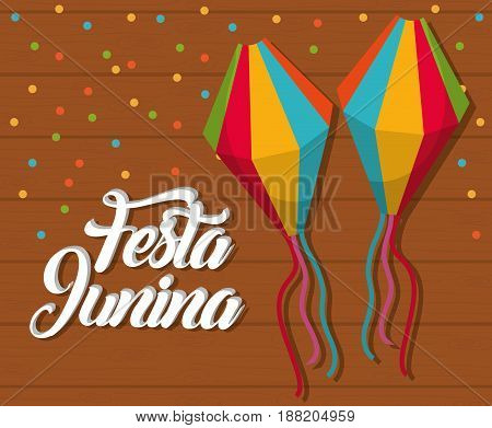 festa junina card with decorative objects icons  over wooden background. colorful design. vector illustration