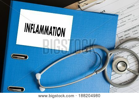 Inflammation Joint Inflammation Concept   Medical Report , Lymph Glands , Allergies. Dermatology.