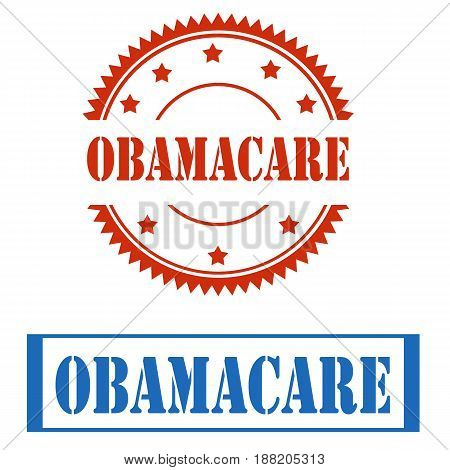 Set of stamps with text Obamacare,vector illustration