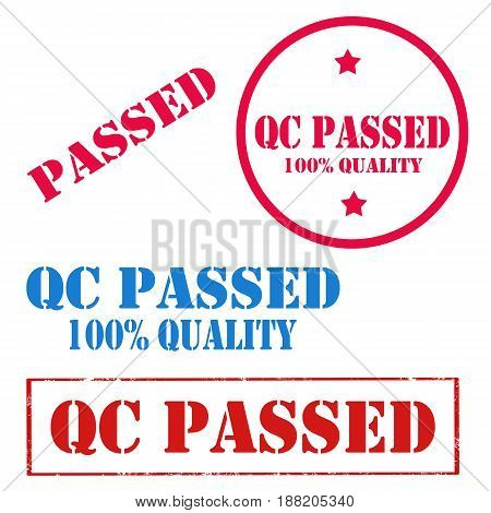 Set of stamps with text QC Passed,vector illustration