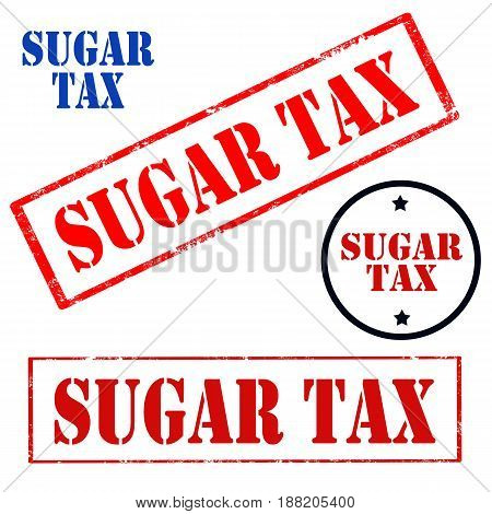 Set of stamps with text Sugar Tax, vector illustration