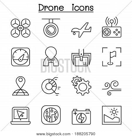 Drone Quadrocopter icon set in thin line style