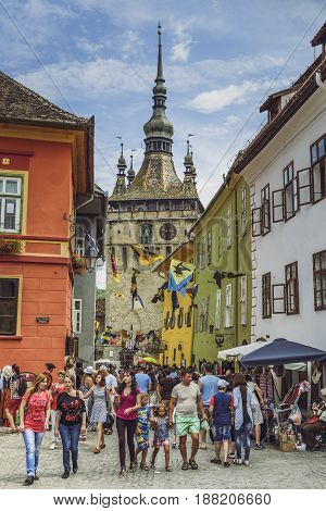 Crowded Streets In Sighisoara Citadel, Romania