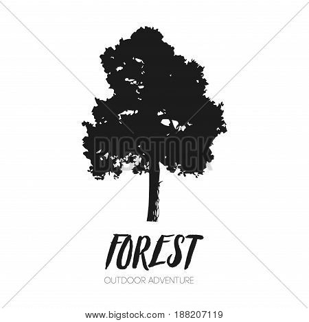 Leaf tree forest silhouette logo ecology outdoor park tourism adventure vector illustration. Beautiful vector tree silhouette icon creative environmental black white stem silhouette
