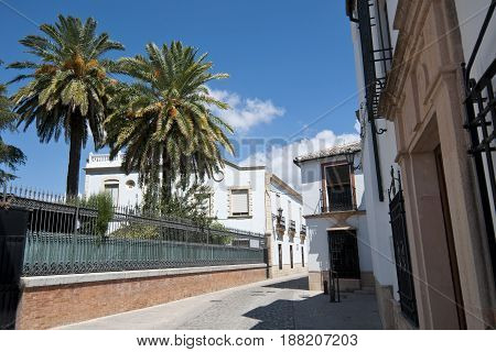 Traditional street in Ronda village, Malaga, Andalusia, Spain