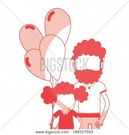 line father with his daughter and balloons, vector illustration