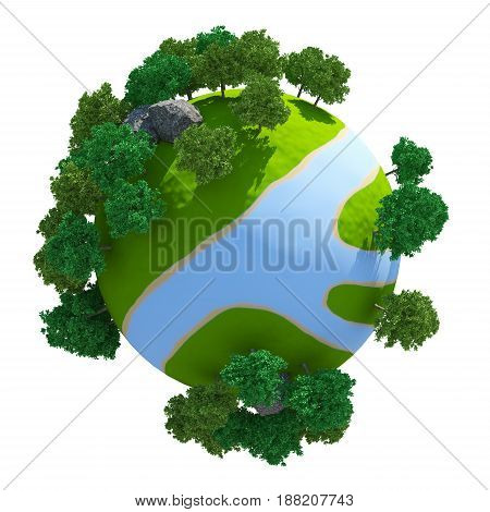Green 3D Planet River ( version 01 )