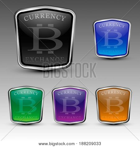 Set of different colored bitcoincurrency exchange shield logos. Vector illustration.