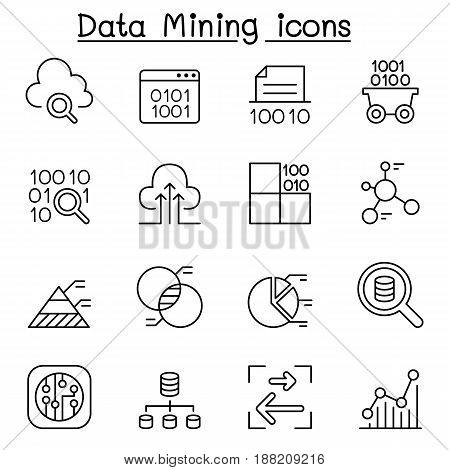 Data mining Technology Data Transfer Data warehouse Big data icon set in thin line style