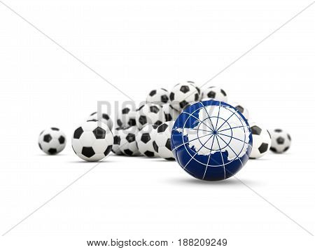 Football With Flag Of Antarctica Isolated On White