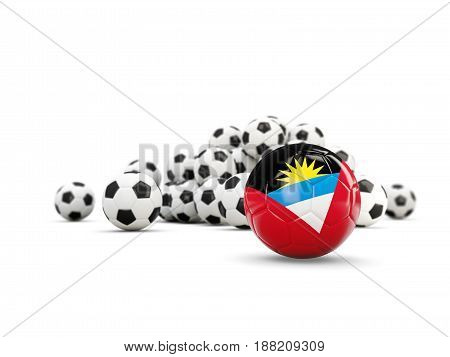 Football With Flag Of Antigua And Barbuda Isolated On White