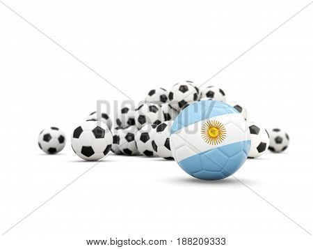 Football With Flag Of Argentina Isolated On White