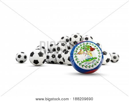 Football With Flag Of Belize Isolated On White