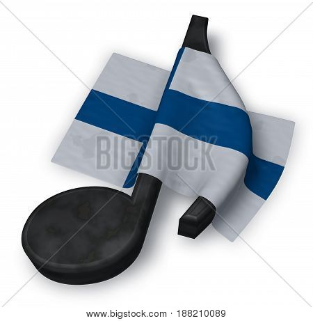 music note symbol and flag of finland - 3d rendering
