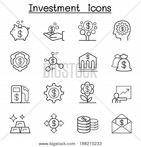 Investment icon set in thin line style