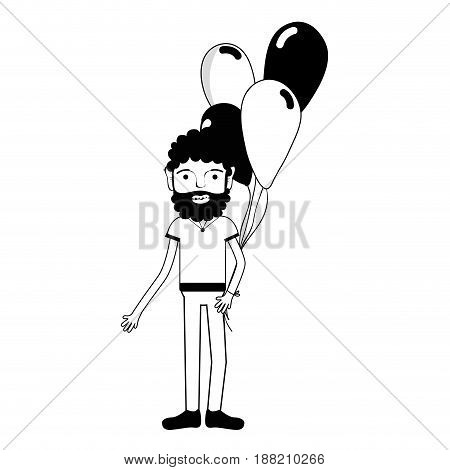contour man with beard and balloons in the hand, vector illustration