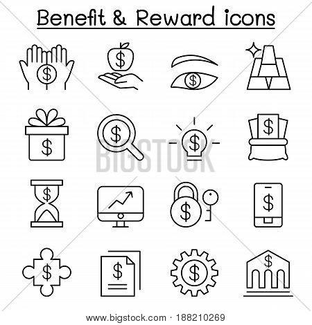 Benefit Reward Stock money icon set in thin line style