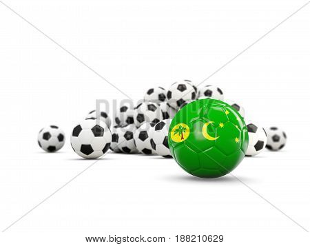 Football With Flag Of Cocos Islands Isolated On White