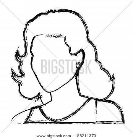 sketch woman face comic. hand drawn girl portrait. vector illustration