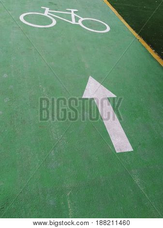 bike lane green floor painted with white color of arrow and bicycle symbol