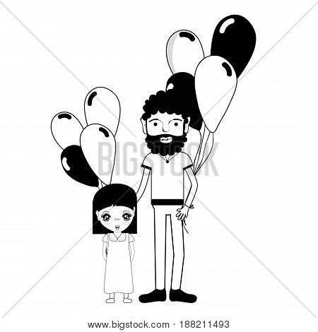 contour father with his daughter and balloons, vector illustration
