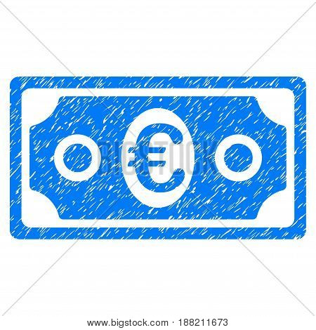Grunge Euro Banknote icon with grunge design and dust texture. Unclean vector blue pictogram for rubber seal stamp imitations and watermarks. Draft emblem symbol.